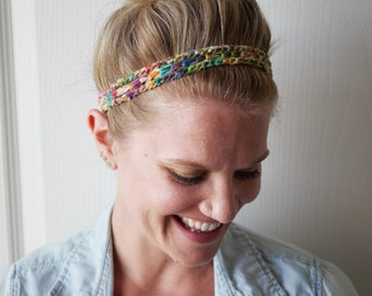 Crochet Boho Headband Multi Color Hippie Fashion Hair Accessory