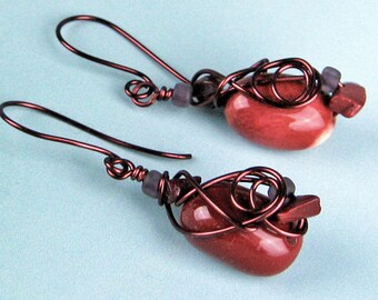 Dangle Earrings, Mookaite Jasper, Semi Precious Stones, Wire Wrapped, Mahogany Copper Wire, Swirls and Spirals, Burgundy, Cream, Handmade