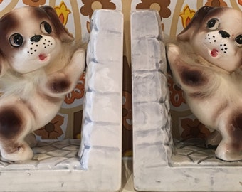 Vintage Pair of Kitsch China Dog Bookends Cute Japan Kawaii