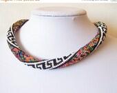 15% SALE Beaded crochet rope necklace - Beaded necklace - Handmade jewellery - Beadwork - Elegant - Geometric - multicolor - colorful