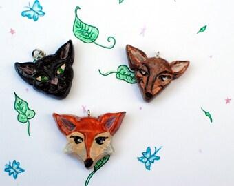 Fox Pendant, Cat Pendant, Deer Pendant, Animal pendant, Fox Jewelry, Deer Jewelry, Forest Jewelry, Woodland Pendants, Cute animal Jewelry