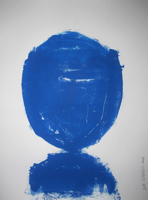 Abstract Minimal Blue No.0729 Ink on Paper 24x18 Modern