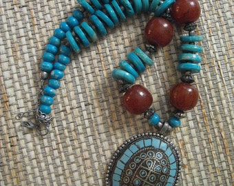 Turquoise and Amber (maybe) Pendant Necklace
