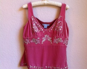 Rose Colored Velvet Camisole With Sequins And Embroidery