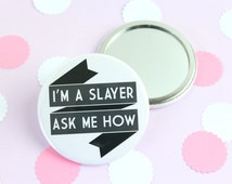 Buffy Pocket Mirror. Buffy the Vampire Slayer. Buffy Mirror. Buffy Gifts. Joss Whedon. Vampire Gifts. Buffy Gifts.