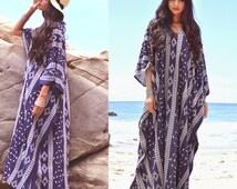 Navy embroidered Draped Boho Bohemian Gypsy Resort Festival Maxi Dress Tribal Caftan OS Cruise Vacation Beach Wear Saldana Vintage