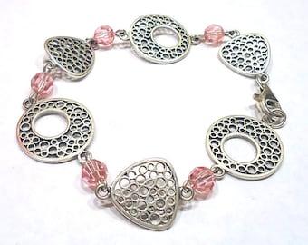 Pink Swarovski Bracelet, Beaded Jewelry, Silver Link Bracelet, Crystal Jewelry, Geometric Jewelry, Crystal Bracelet, Sterling Silver