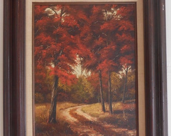 Fall Acrylic Oil Painting Landscape Autumn Trees Country Road Signed by Artist