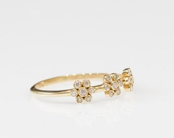 Delicate engagement ring, flower gold ring, unique diamond rings,  diamond engagement rings, small diamond ring, Unique ring, love ring