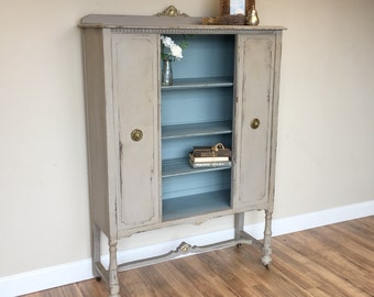 Small China Cabinet ~ Black Bookcase ~  Antique Cupboard ~ Vintage Home Decor ~ Refinished Furniture