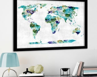 Watercolor world map etsy large watercolor world map vintage cream large world map push pin map gumiabroncs Gallery