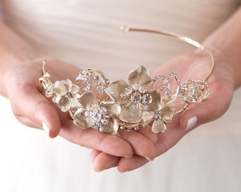 Couture Gold Bridal Headband,Bride To Be Hair Accessories,Elegant Bridal Headband,Bridal Hair Accessories, Floral Bridal Headband ~TI-3276-G
