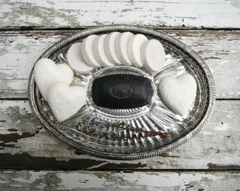 Glass and Silver-Plated Serving Tray