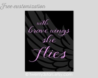 With Brave Wings She Flies Canvas or Art Print, Empowering Girl Art Print, Inspirational Art Print, Little Girl's Room, Wings Canvas Art