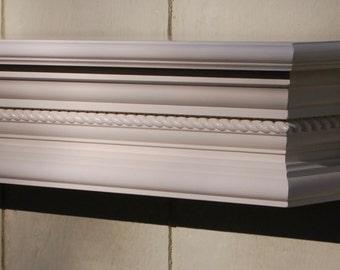 White Rope Crown Molding Wall Shelf - Fireplace Mantel - Wooden Wall Shelf
