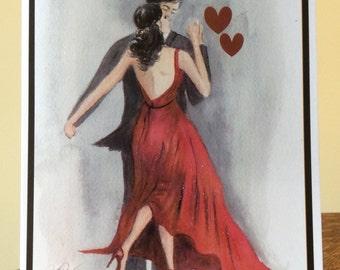 Valentine Dancers heart love romance watercolor card  Item V22