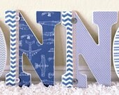 Custom Boy Nursery Letters, Wooden Letters, Wall Hanging Letters, Vintage Airplane Theme , Personalized Name-  The Rugged Pearl