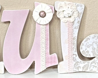 Custom Nursery Letters- Personalized Baby Girl Name- Wall Hanging Wooden Letters- Nursery Decor- Shabby Chic- Vintage- The Rugged Pearl