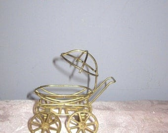Brass Miniature Pram Dollhouse figurine furniture collectable - Baby Carriage