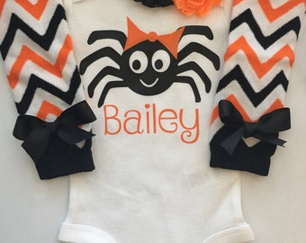 Baby Girl 1st Halloween Outfit -- Halloween baby costume outfit - Girls Halloween outfit - Toddler girls Halloween clothes - Spider outfit