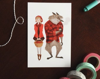 Red Riding Hood and Mr. Wolf 6x4 postcard print