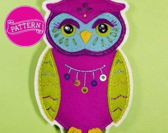 Cecil the Owl Felt Ornament Pattern PDF