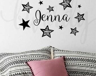 Girl's Custom Name with Stars and Zebra Stars, Vinyl Decal- Wall Art, Bedroom