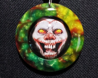 Clown Pendant in Multicoloured Pearl Resin + Free Shipping Worldwide, Halloween, Clown necklace, Halloween Jewelry, circus jewelry
