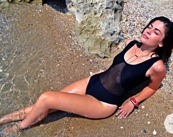 Woman Swimwear, Black Swimsuit, One Piece Swimsuit, Vintage Swimwear, 80s Swim, Beach Wear, Sexy Swimwear, Handmade Swimwear, Bathing Suit