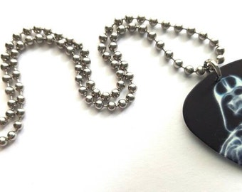 Darth Vader Guitar Pick Necklace with Stainless Steel Ball Chain - movies - black and white - Star Wars