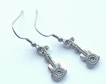 Silver Guitar Earrings with Stainless Steel Earwires - Tibetan Silver - music