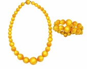 Yellow Orange Vintage Moonglow Bead Necklace and Bracelet Set
