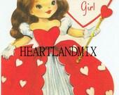 Vintage Valentine Card Download Art Graphic Image printable Sweet Little Girl