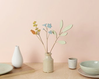 Wooden flowers - Plywood flowers - Forget-me-not Set