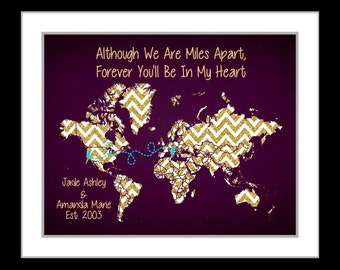 Personalized best friend map, long distance gift friendship quote, bolt, map of the world, present for bff going away gift