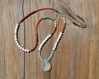 Mixed Crystal Necklace (Lemon Quartz, Jasper, Turquoise...)
