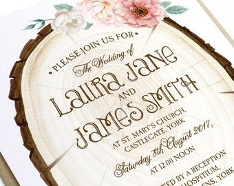Rustic Log Wedding Invitation - SAMPLE