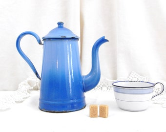 Antique 2 Tone Blue  Enamelware Cafetière / Coffee Pot / French Country Decor / Retro Vintage Home Interior / kitchenalia Cottage Kitchen