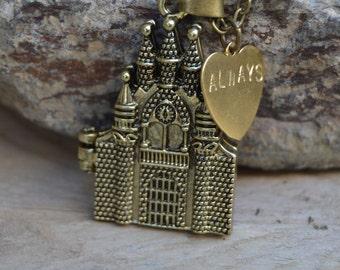 Hogwarts necklace, Harry Potter jewelry always, harry potter wand necklace layering, harry potter necklaces