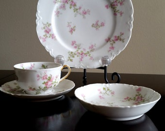 Vintage Haviland & Co. Limoges France Porcelain Dinner Set in Wild Rose Pattern 4 piece set Gold Accents on handle of Tea Cup