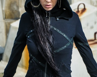 Isis pyramid hoody - Short womens hoody - Black hoody - Hoody with detatchable hood and leather detailing-Punk hoody- Priestess hoody