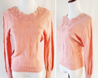 Vintage Pink Knitted Cuddle Knit Sweater with Scallop Neckline. Small