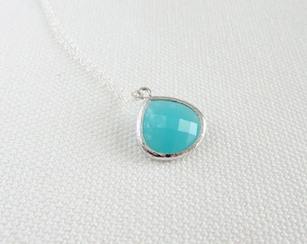 Blue Mint Necklace, Sterling Silver Chain, Dainty Minimalist Jewelry, Simple Blue Green Glass Necklace