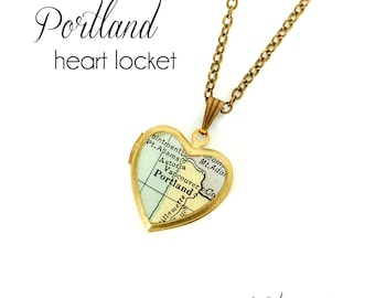 Portland Map Necklace, Oregon, Antique Map Jewelry, Brass Heart Locket, Vintage Locket, PDX, City Necklace, Gift for Her