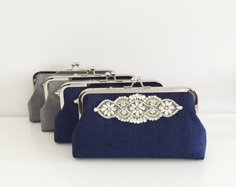Bridesmaid Clutches Set of 4, Navy Blue Clutch, Grey, Personalized Photo Clutches, Rhinestone Applique, Wedding Clutch, Mother of the bride