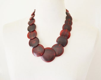 African Necklace/ Red Disc Necklace/ Tribal Necklace / Vintage Necklace/ Boho Necklace/ Chunky Necklace