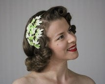 """Leaf Fascinator, Lime Green Headband, White Mint Hair Accessory, Ivy Leaves, 1950s Vintage Headpiece - """"Spring Awakes"""""""