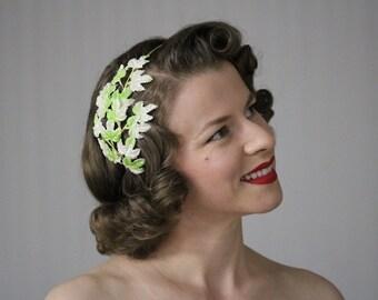 "Leaf Fascinator, Green Headband Adult, Hair Accessory, Mint Green, Headpiece Ivy, Hair Lime Green Hair Band 1950s Vintage - ""Winter Awakes"""