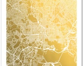 Gold Foil Map of Baltimore, Maryland, Baltimore Map, Map Wall Art, Map Wall Decor, Baltimore Map Print, City Map Print, Baltimore Art
