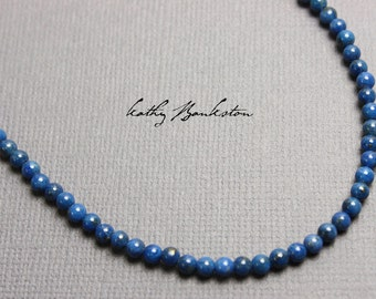 Lapis Necklace , Lapis Lazuli Necklace, Blue Gemstone Necklace, Lapis Jewelry, Blue Lapis Necklace, Blue Lapis Necklace, 3MM Lapis Necklace